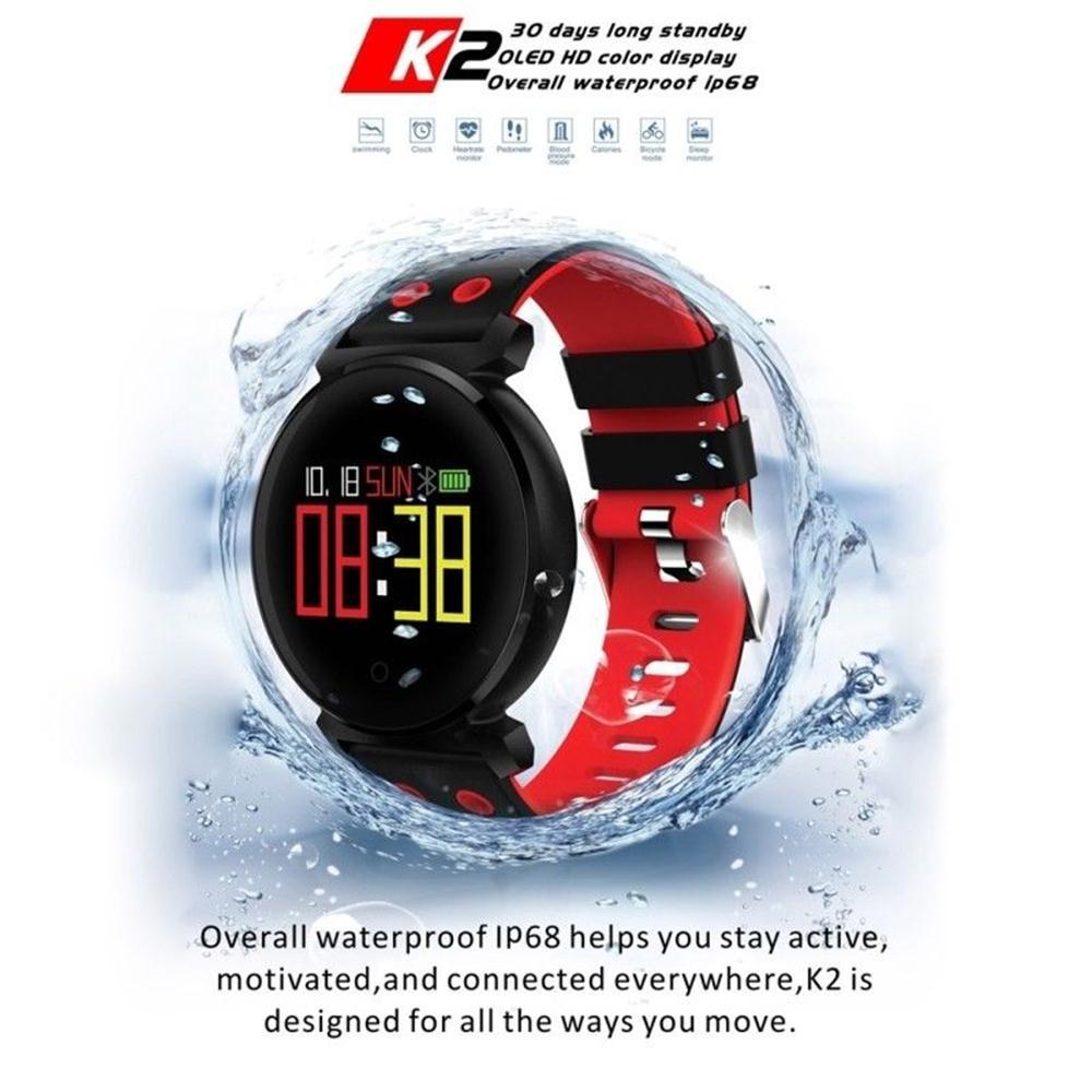 Timethinker K2 Hommes Montre Smart Watch Bracelet Horloge Femmes Sang Pression Moniteur de Fréquence Cardiaque Montres Sport Podomètre Smartwatch IP68