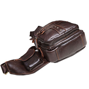 Image 5 - 男性革の牛革レトロ有名なブランドの高品質旅行メッセンジャーショルダー日パック胸バッグ新 2019