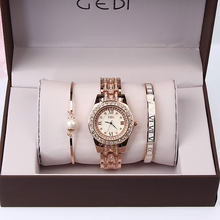 3PC Set Woman Watches 2019 Luxury Brand Quartz-Watch Ladies Watch Women Gold Bracelet Casual Oval Crystal Dress Wristwatch(China)