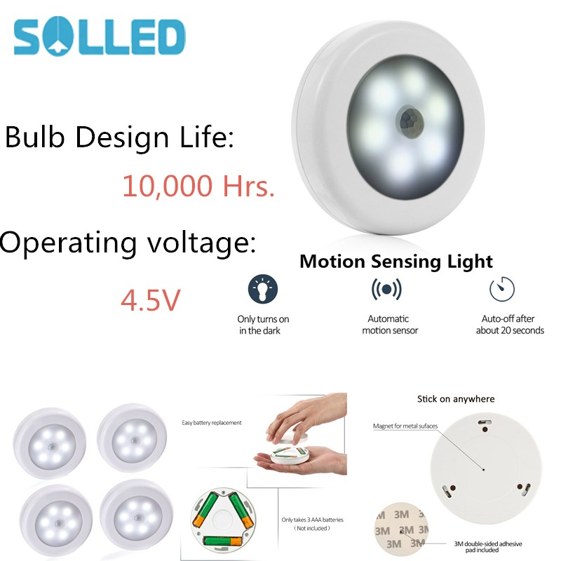 SOLLED 6LED PIR Body Motion Sensor Activated Wall Light Night Light Induction Lamp Closet Corridor Cabinet led Sensor Light four leaf clover pir motion sensor led night light smart human body induction novelty battery usb closet cabinet toilet lamps