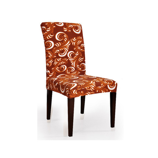 """פוליאסטר ספנדקס למתוח יו""""ר עטיפות המשמח קלאסיות קפה אלסטי מודפס אוכל כיסא מכסה צד חתונה V43"""