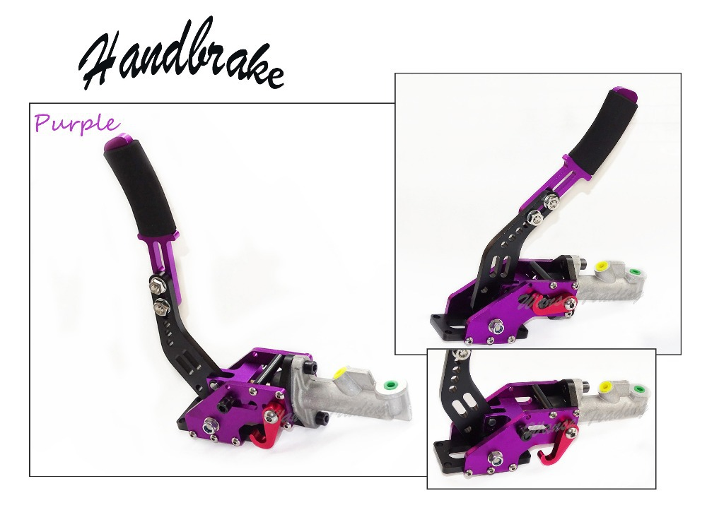 Purple Universal Aluminium Auto Hydraulic Handbrake C-Style Vertical Adjustable Drift Rally Racing E-Brake Lever neo chrome adjustable e brake hydraulic drift racing handbrake hand brake vertical horizontal s14 ae86