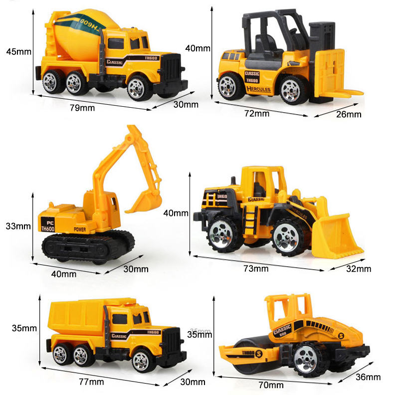 6pcs/set Baby boy and girl Engineering Cars Toy Imitation Inertial Engineering Car Children Toy Alloy Excavator Gift 2017 new