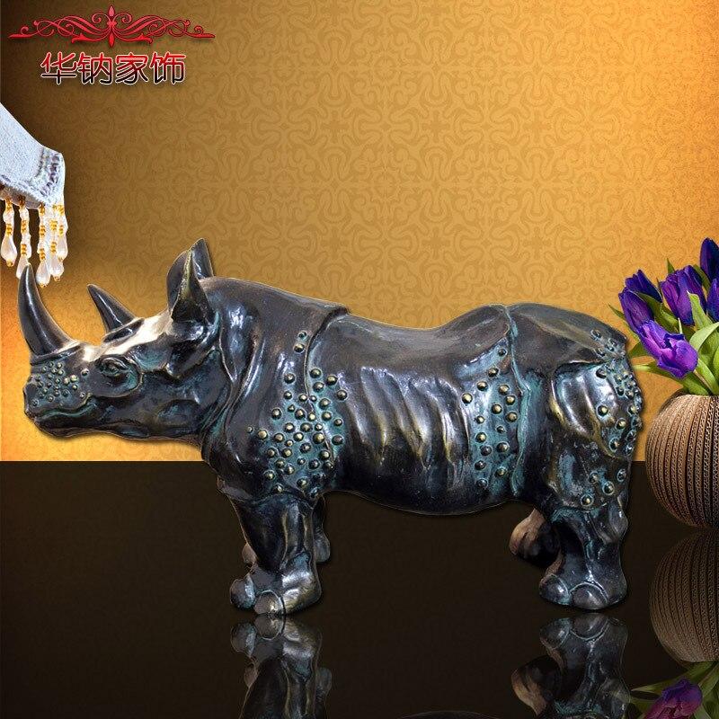 Retro Bronzo Ornamenti Artigianali A Fare Il Vecchio Ufficio Hall Scrivania Rhinoceros Bull Regali Resina statua di buddha scultura escultura buda