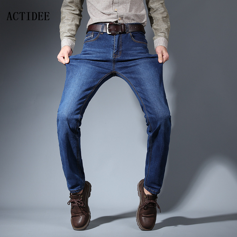 ACTIDEE New Jeans men 2017 mens jeans elastic straight jeans long slim fit casual trousers denim pants men plus size 38 40 42 men s cowboy jeans fashion blue jeans pant men plus sizes regular slim fit denim jean pants male high quality brand jeans