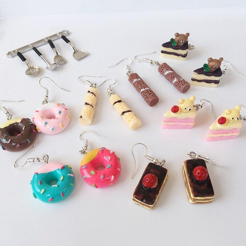 Summer Fashion Earrings Cute Food Cake Donuts Lovely Cartoon Drop Earrings Personality Funny Party Girl Jewelry Gift Wholesale earrings