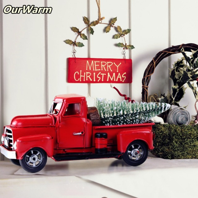 Ourwarm Diy Table Christmas Decoration Vintage Red Truck Mini Felt