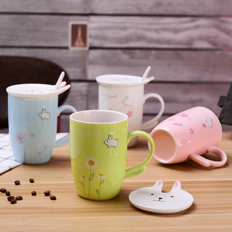 350ml Creative Bunny Ceramic mug Gift Mug with lid spoon Cute Rabbit Cherry Blossom Breakfast mug Large Capacity Free shipping