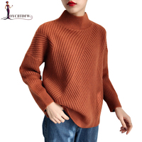 High collar Women Sweater Loose 2018 New Pullover Long sleeve Bottoming shirt Sweater Solid color Female Knitted Sweater DD908