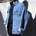Punk Men's Loose Blue Denim Jacket Simple Fashion Streetwear Casual Quality Denim Coats 2016 Euro-America Size S-2XL