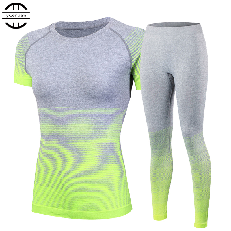 Splinterny Kvinnors träningsdragor Yoga Sets Breathable Sports Suit Fitness Gym Running Set Yoga Shirt Toppbyxor Green Yoga For Girls