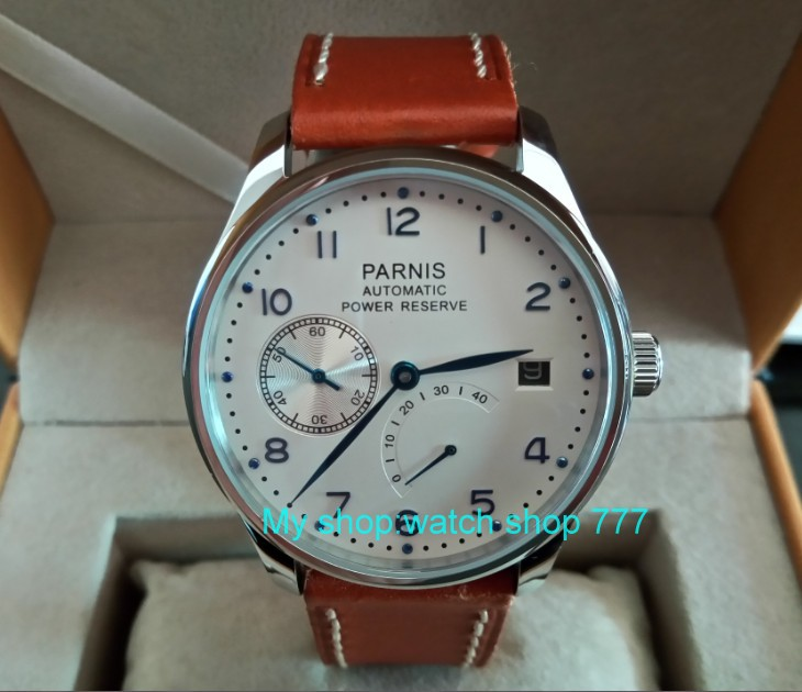 43mm PARNIS White dial power reserve Automatic Self-Wind Mechanical movement Auto Date men
