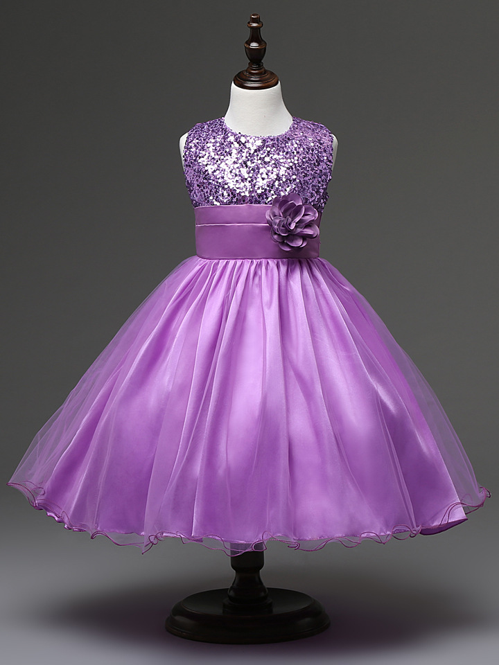 On Sale Baby Girl Bows Formal Teenage Sequin Top Girls Party Dresses ...
