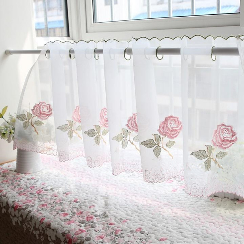 Pink Rose Embroidered Translucidus Coffee Curtain Decorative Dust Proof  Kitchen Curtain Multi Function Small