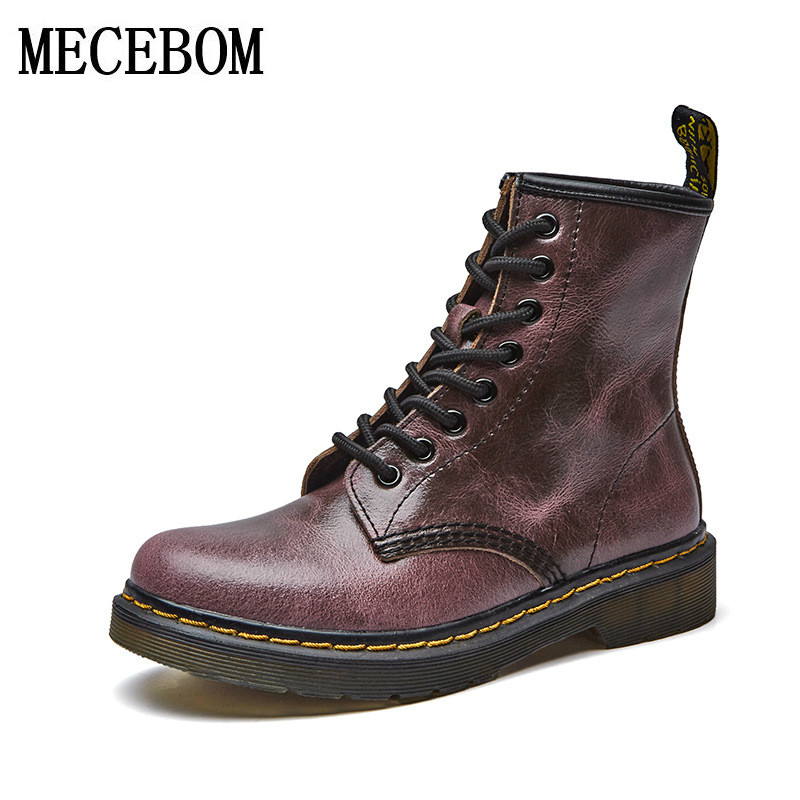 2018 Fashion Leather shoes Martins Ankle Shoes  Women autumn winter Boots Soft Skull Brand Quality Warm Fur Women's Boots 6082W serene handmade winter warm socks boots fashion british style leather retro tooling ankle men shoes size38 44 snow male footwear