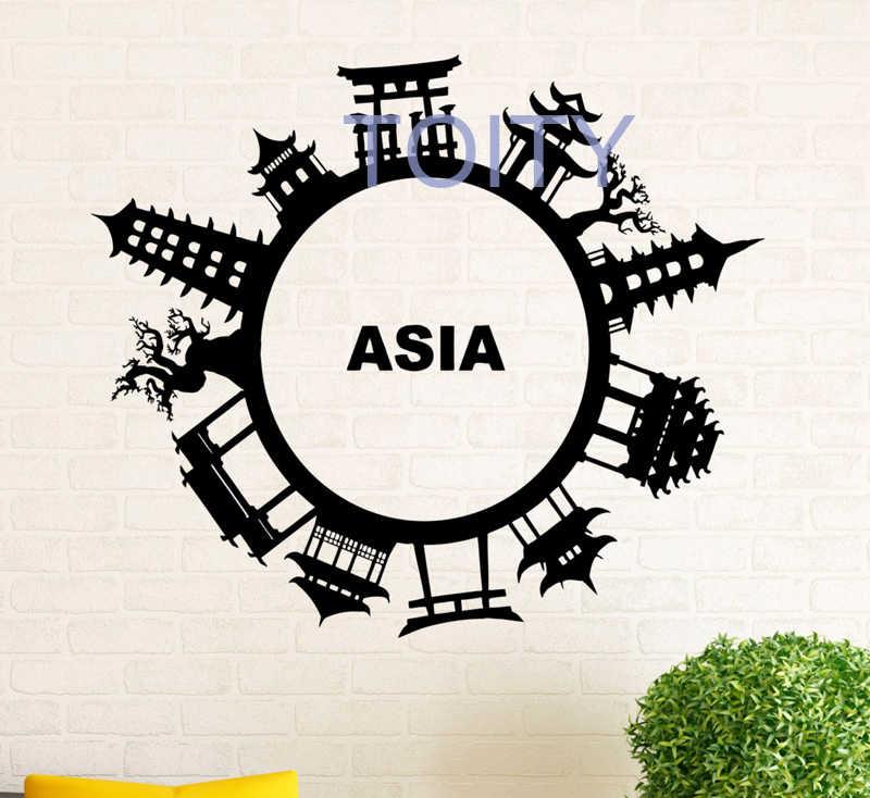 Asian Culture Wall Sticker Vinyl Decal Asian Architecture Home Interior Design Art Wall Murals Bedroom Decor H57cm X W66cm Bedroom Decor Decoration Designvinyl Decal Aliexpress