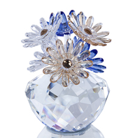 H&D Crystal Daisy Flower Figurine Ornament Art Glass Paperweight Table Home Decor Gift For Valentine's Day,Birthday,Christmas
