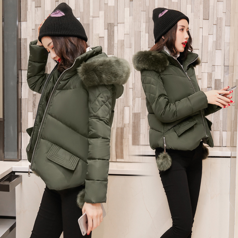 2017 winter-autumn cotton short fur collar coats jacket women hooded padded parka&coat warm manteau hiver femme fashion jackets bishe women winter down jacket warm long parka femme 2017 faux fur collar hooded cotton padded parkas female manteau femme 4xl