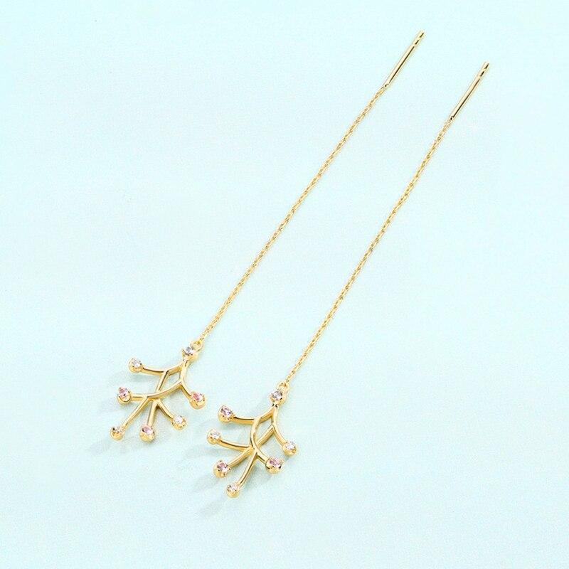 BESTLYBUY pendientes de Cristal de árbol de Estilo de vacaciones, pendientes largos de diamantes de imitación 925, pendientes de árbol de plata con borlas para mujeres, colgantes y pendientes