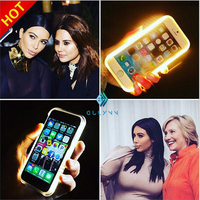 Amarelo levou luz do flash do telefone móvel tampa traseira para samsung galaxy s6 s7 LED Luz Moda Selfie Caso caixa do telefone móvel para S7