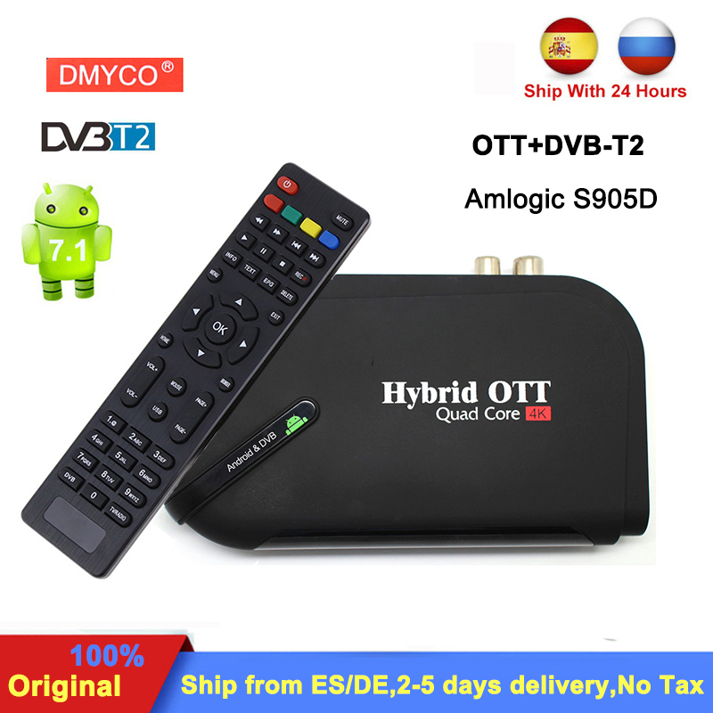 DVB-T2 Smart TV Box Amlogic S905D Quad Core android 7.1 1GB+8GB 4K Media player support Bluetooth DLNA DVB-T2 Satellite Receiver meelo uno2 1gb 8gb 4k meelo uno android 5 1 tv box dvb t2 dvb s2 amlogic s905 quad core 1080p support power vu biss media player