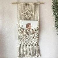 세련된 태피스트리 짠 홈 벽 장식 Macrame 잡지 책 주최자 기하학 아트 아파트 기숙사 장식