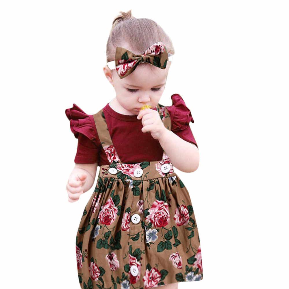 Комплект детской одежды с принтом для девочек из 3 предметов красные комплекты с цветочным принтом и бантом 1 юбка + 1 повязка на голову + 1 комбинезон выше колена, мини-платье с круглым вырезом 1O30