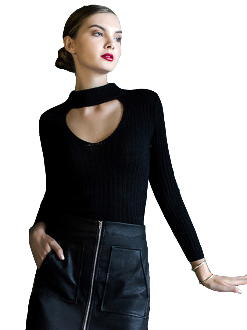 2 Colors White/Black High Neck Cut Out Front Long Sleeve ...