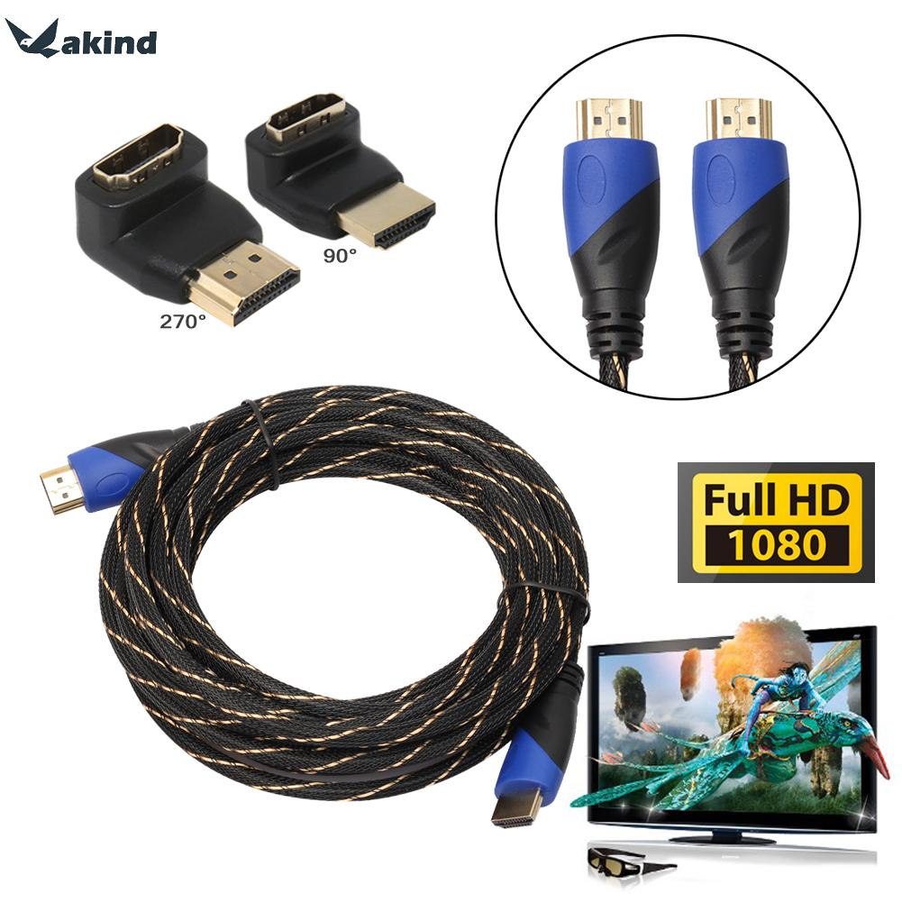 HDMI Cable 2.0 4k 3D 60FPS Cable w/ 2 Right Angle HDMI Male to Famale Adapter Computer Cable for PS3 Xbox HDTV 1m 3m 5m 10m 15m