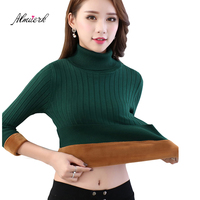 2018 autumn winter sweaters Women high collar large size plus velvet Thickening warm short fashion sweater Bottoming tops p050