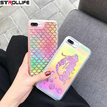2017 New Fashion Laser Mermaid Sequins Dynamic Liquid QuickSand Glitter Phone Cases For iPhone 6 6S 7Plus Shinning Back Cover