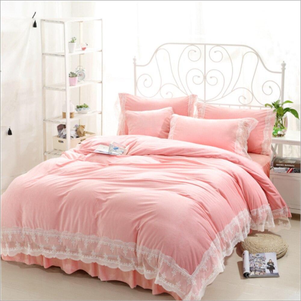 Pink bed sheet design - Korean Princess Style Lace Ruffled Design Flower Pattern Duvet Cover Bed Sheet Set Crystal Velvet Fabric