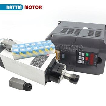 Carré 3.0KW refroidi par Air moteur de broche ER20 220V 4 roulement et 3KW variateur de fréquence variateur VFD & 1 set ER20 recueillir
