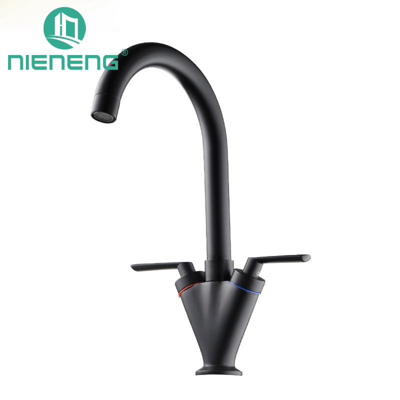 Nieneng Black Double Kitchen Sink Faucet Tap Pure Water Filter Mixer Dual Handles Chrome Finish Contemporary Torneira ICD60315 double black бермуды