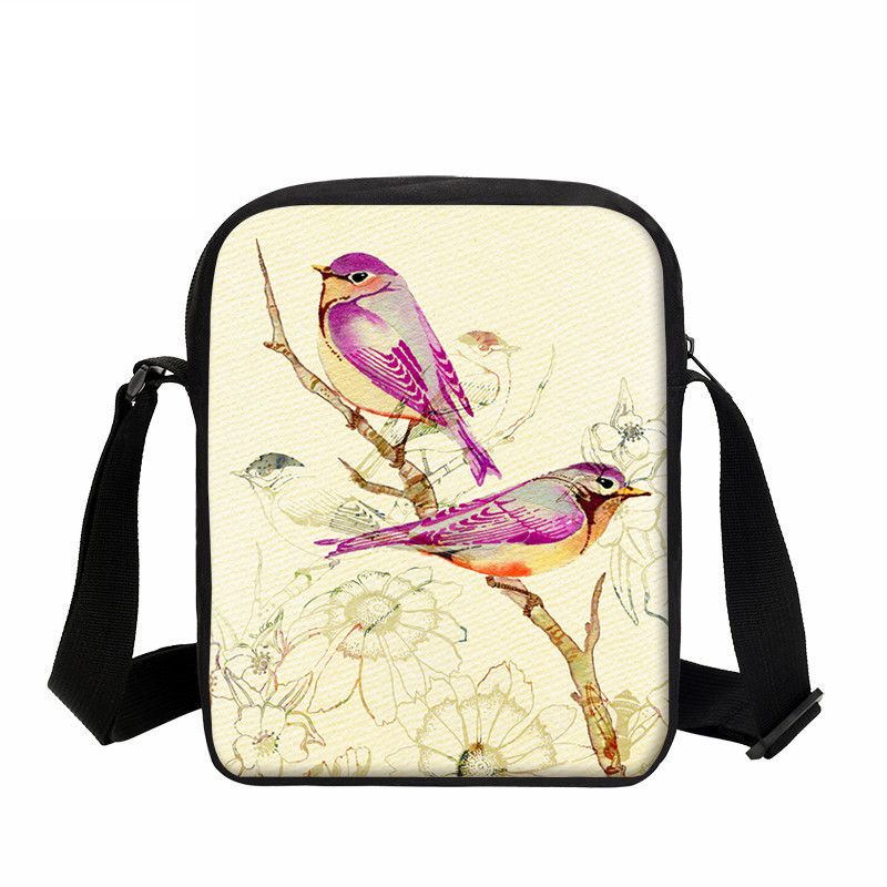 VEEVANV Cute Children Messenger Bags Watercolours Printing Handbags Girls Cartoon Birds School Shoulder Bag Boys Crossbody Purse cute cartoon women bag flower animals printing oxford storage bags kawaii lunch bag for girls food bag school lunch box z0