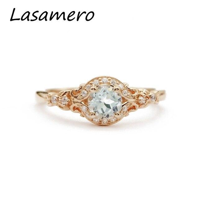 LASAMERO Rings for Women 0.5CT Round Cut Natural Aquamarine Center Rings 925 Silver Engagement Wedding Rings