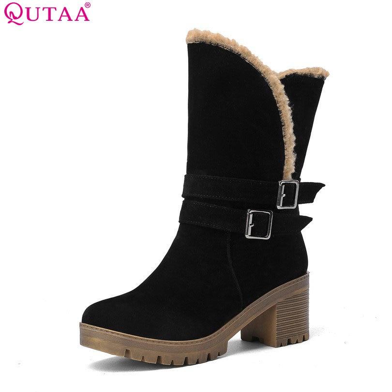 Qutaa/лето-осень Для женщин Сапоги и ботинки для девочек на платформе ботильоны на высоком каблуке PU кожаные сапоги зимние сапоги женские Обув...