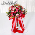 Дешевые Ручной Невеста Букет Свадебный Красный Trouw Boeket Букет Невесты Ручной Цветы Decoracion Бода