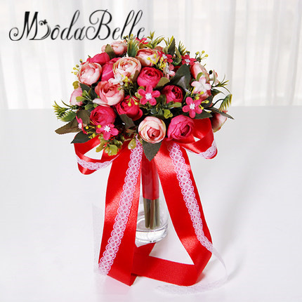 Cheap Handmade Bride Bouquet Wedding Red Trouw Boeket Bridesmaid Bouquet Hand Flowers Decoracion Boda