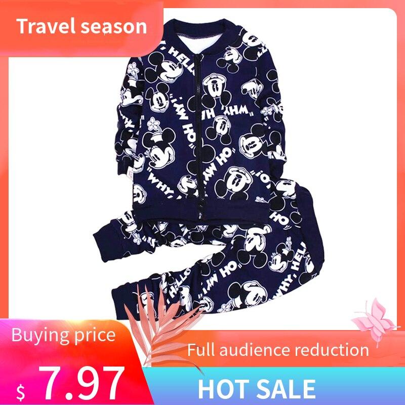 e9d5808c8ab0b Mickey Minnie enfants survêtement bébé vêtements hiver veste ensemble  garçons sport costume bébé fille Zipper manteau