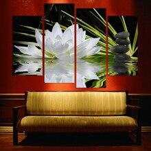 Nuevo Sistema Modular Fotos 4 Panel de Hermosas flores impresas sobre lienzo para la sala de fondo negro, 4 paneles decorativos para el hogar arte de la pared o