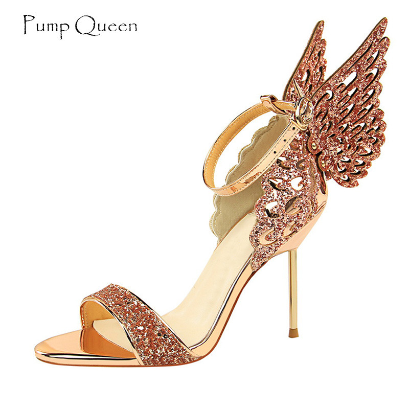 PumpQueen Women Sandals High Heels 3D Butterfly New Arrival Shoes Woman Party Wedding Heel Sandals Ladies Shoes Zapatos Mujer