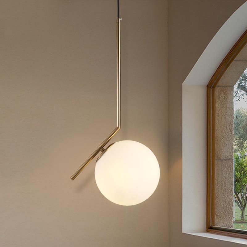 Modern style living room bedroom minimalist restaurant LED pendant light Nordic clothing decoration E27 glass ball pendant lamp