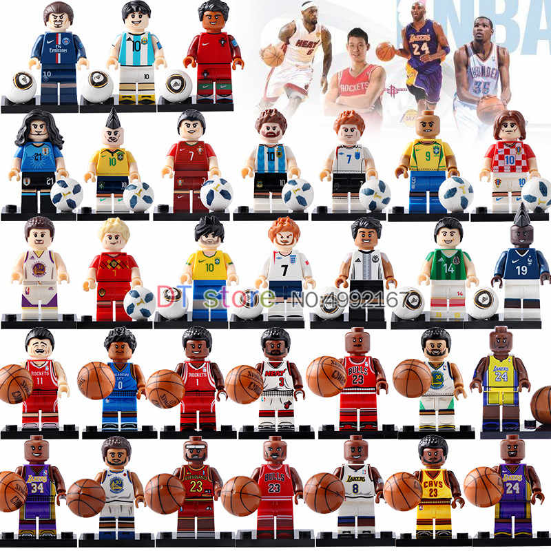 Single Basketball Player Football Player Figures Kobe Bryant Labron James Figure Action Collection Building Bricks Toys BR243