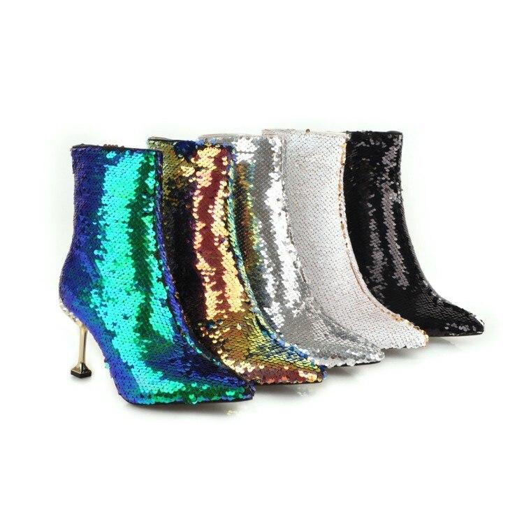 Marque Bling hiver femmes bottes or paillettes tissu talons hauts bottines bout pointu neige décontracté femmes bottes chaudes - 2