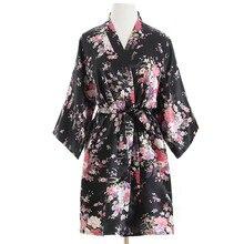New Black Wedding Bride Bridesmaid Robe Floral Bathrobe Short Kimono Night Robe Fashion Dressing Gown For Women One Size T81