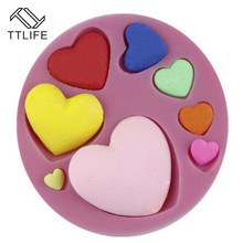 TTLIFE 8 Love Heart Shape Hollowed Silicone Cake Mold Pastry Chocolate Baking Mould Soap Cookies Fondant Decorating Tools