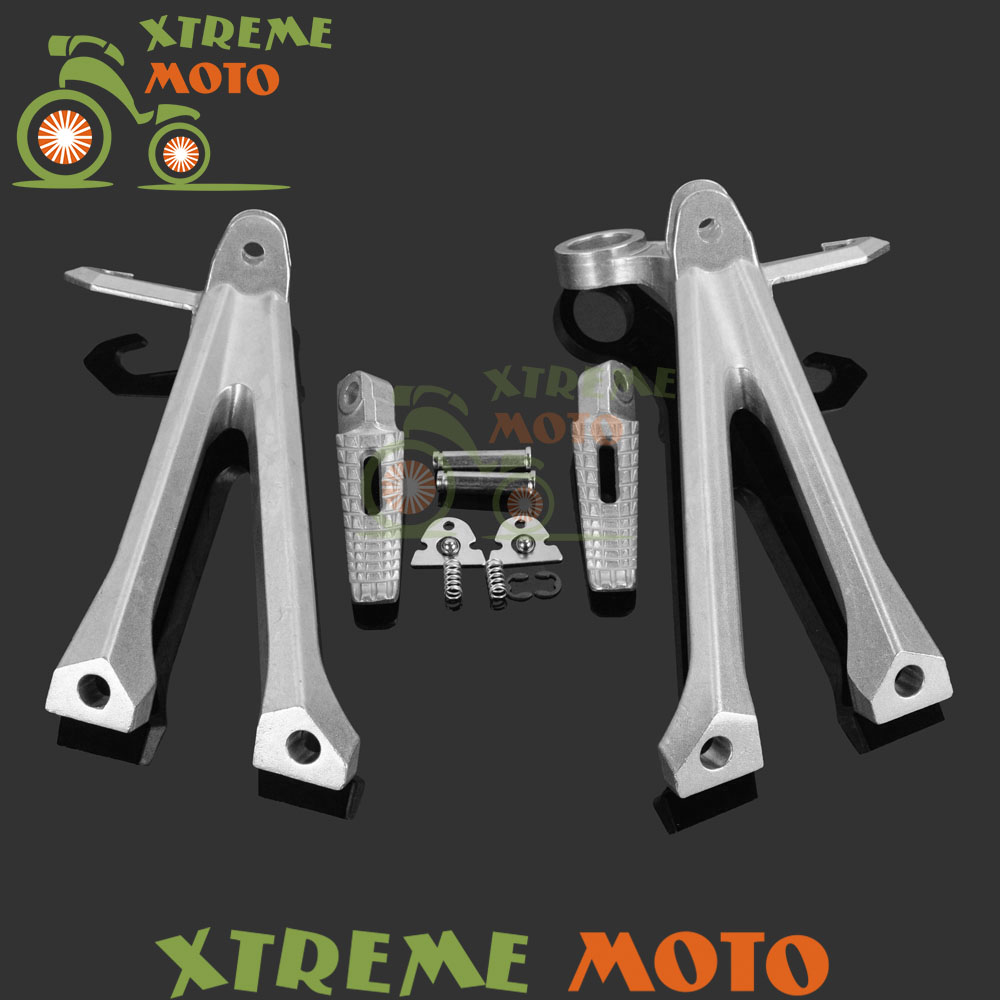 Silver Motorcycle Rear Passenger Footrests Foot Pegs Rests Pedal Tripod Brackets Mount For Suzuki GSXR600 GSXR750 2011 2012 2013