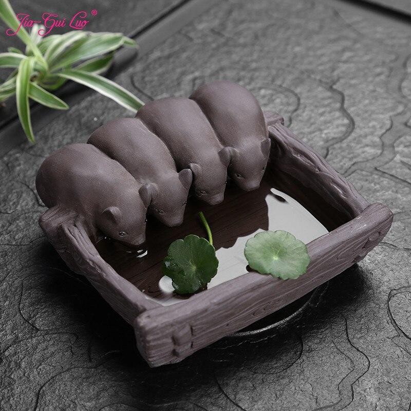 JIA-GUI LUO  Tea Pet Piglet Purple Clay  Home Decor  Tea Decoration  Kung Fu Tea Pet  Clay Tea Pet N018