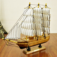 30cm Wooden Ship Craft Sailing Boat Mediterranean Wood Sailboat Model Nautical Pure Manual Decoration Home Decor